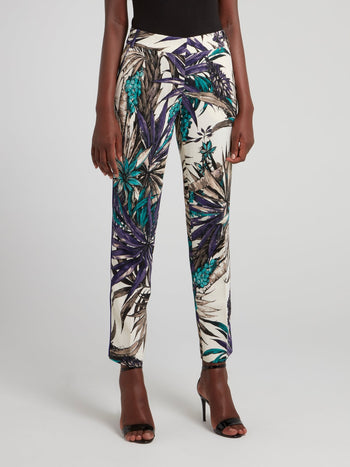 Tropical Print Capri Pants