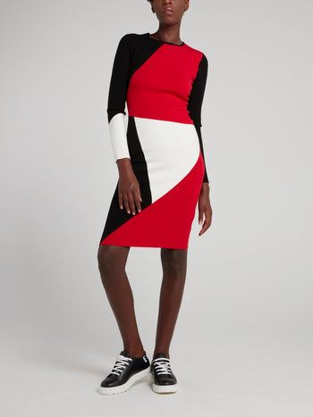 Colour Block Rear Zip Mini Dress