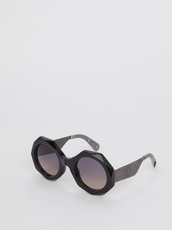Black Geometric Acetate Sunglasses