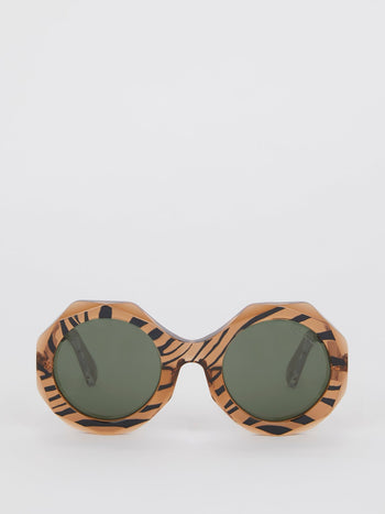 Geometric Tiger Print Sunglasses
