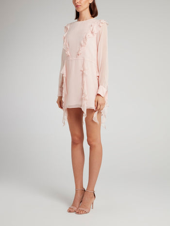 Pink Ruffle Detail Mini Dress