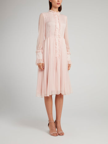 Pink Frill Trim Pleated Midi Dress