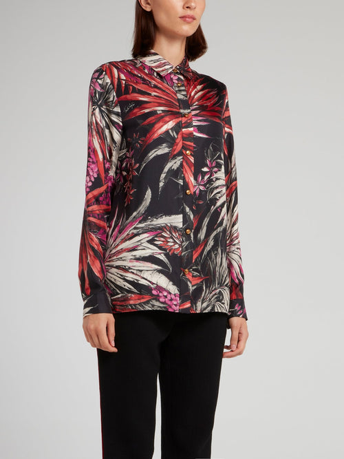 Tropical Print Button Up Shirt