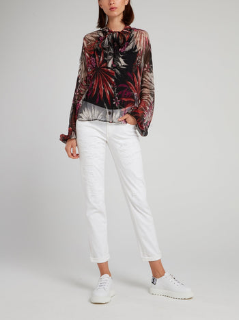 Tropical Print Bishop Sleeve Shirt