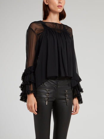 Black Mesh Panel Frill Blouse