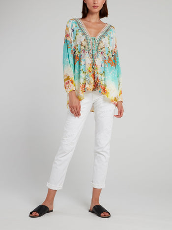 Lace Up Surplice Silk Top