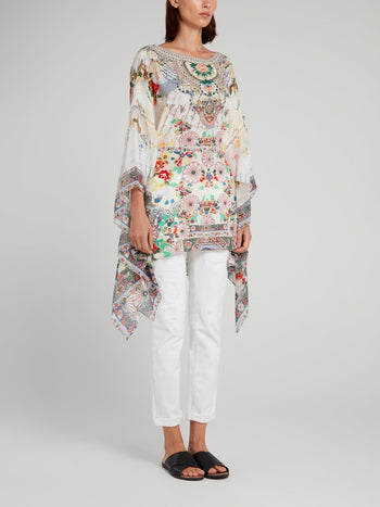 Sheer Sleeve Silk Short Kaftan