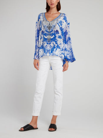 V-Neck A-Line Silk Blouse