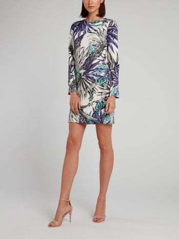 Tropical Print Crewneck Shift Dress