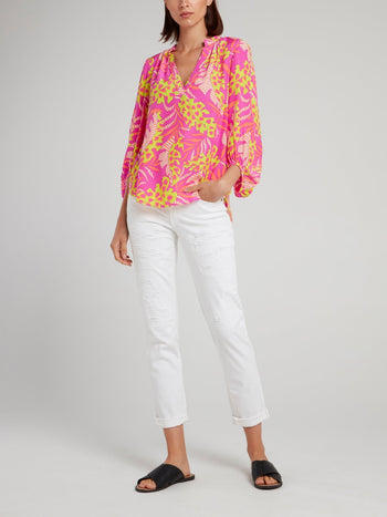 Pink Tropical Print Top