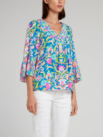 Floral Print Flared Sleeve Top