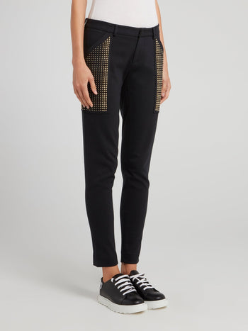 Black Embellished Cropped Pants