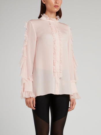 Pink Frill Trim Blouse