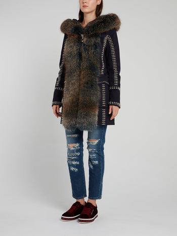 Navy Fur Panel Studded Parka