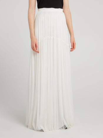 White Tulle Silk Maxi Skirt