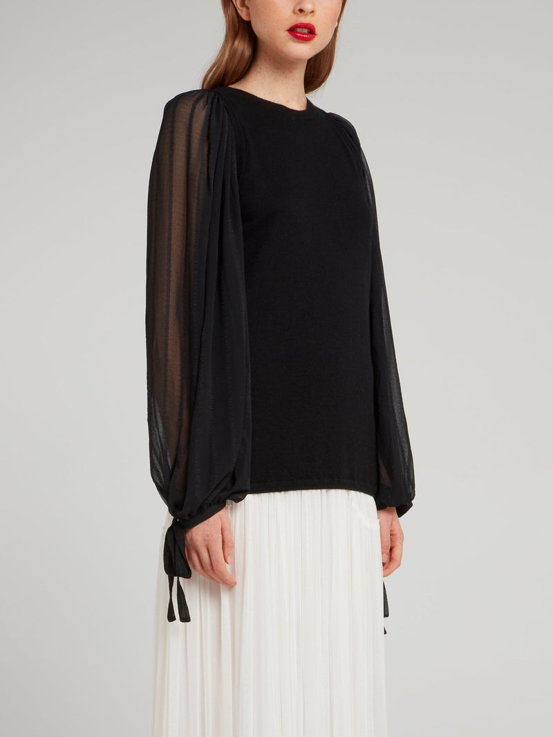 Black Mesh Panel Cashmere Top