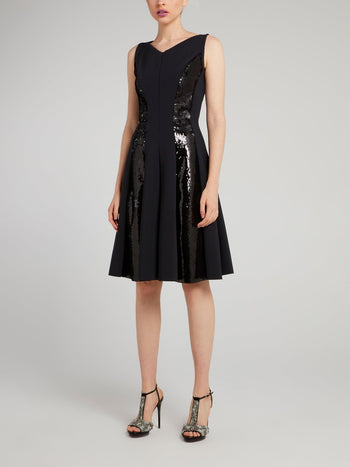 Teresita Black Sequin Panel Midi Dress