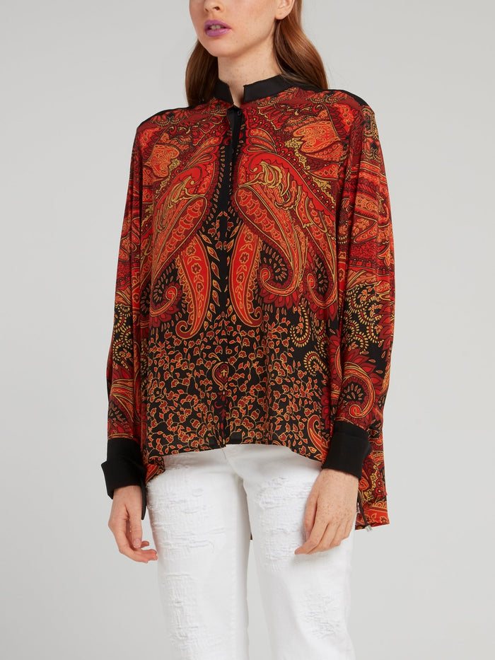 Red Baroque Print Crepe De Chine Shirt