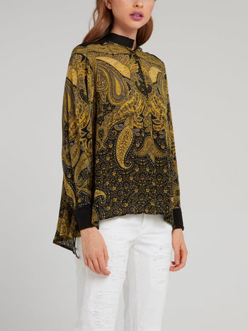 Yellow Baroque Print Crepe De Chine Shirt