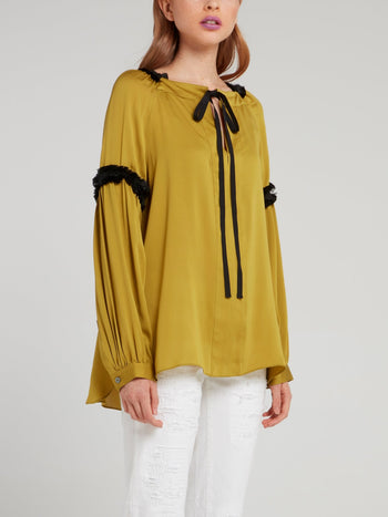 Mustard Satinised Georgette Top