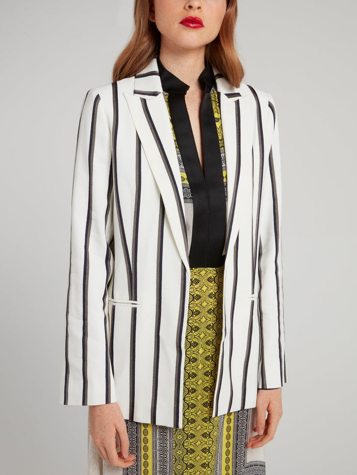 Off White Ribbon Stripe Blazer