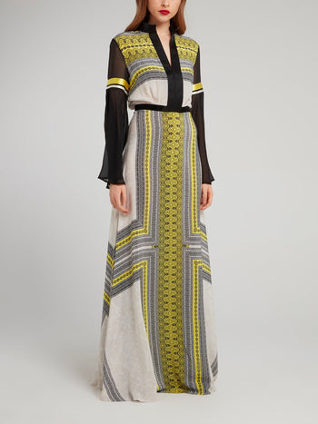 Border Print Mesh Sleeve Maxi Dress