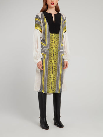 Border Print Bishop Sleeve Midi Dress