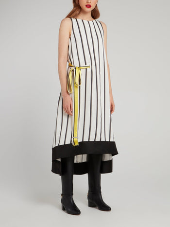 Off White Ribbon Stripe Midi Dress