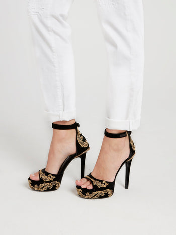 Baroque Embellished Contrast Sandals