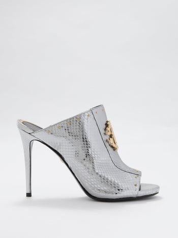 Metallic Snake Effect Monogram Sandals