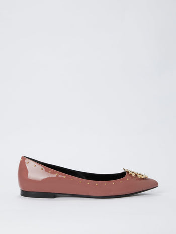 Brown Monogram Patent Leather Ballerina Flats