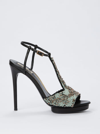 Beadwork High Heel Sandals