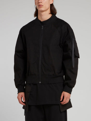 Black Rear Zip Woven Bomber Jacket