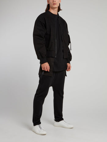 Black Drawstring with Detachable Pocket Knitted Pants