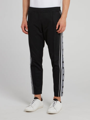 Black Ribbed Waistband Logo Sweatpants