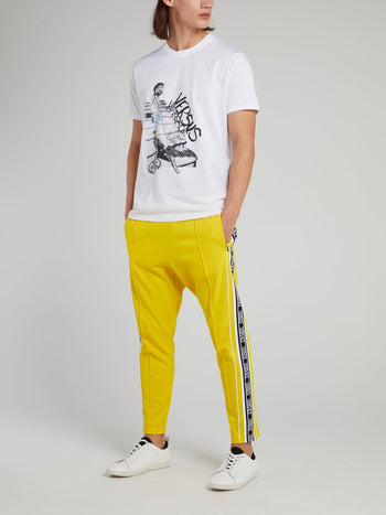 Yellow Ribbed Waistband Logo Sweatpants