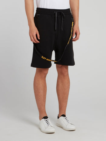 Black Tape Detail Statement Shorts