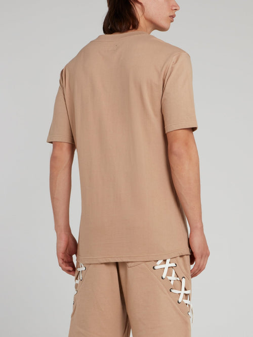 Beige Straight String Panel T-Shirt