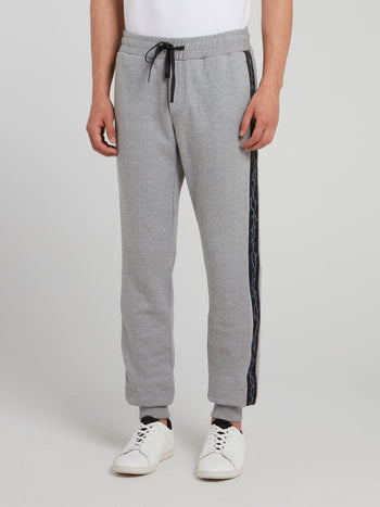 Grey Side Print Knitted Track Pants