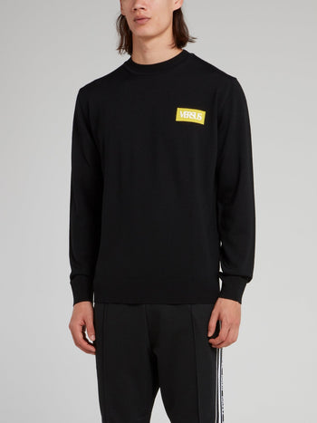 Black Logo Knit Pullover