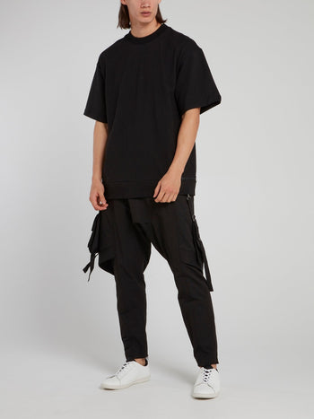 Black Multi-Stitch Tapered Pants