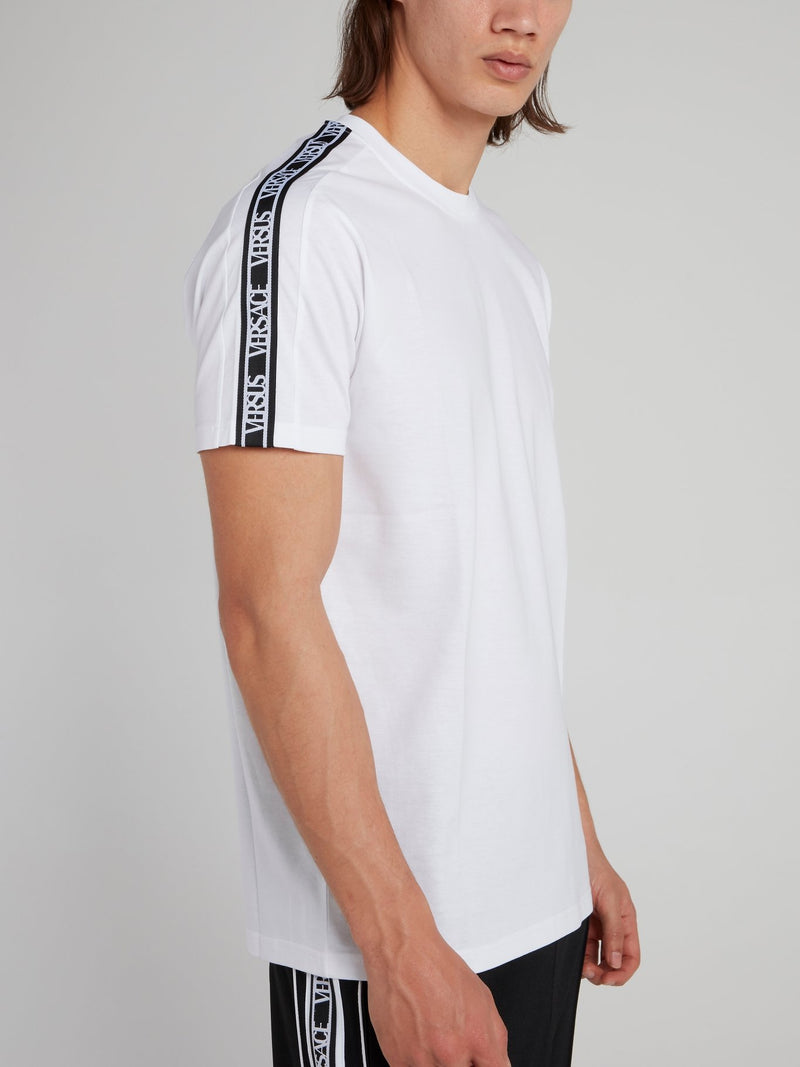 White Shoulder Logo Tape T-Shirt