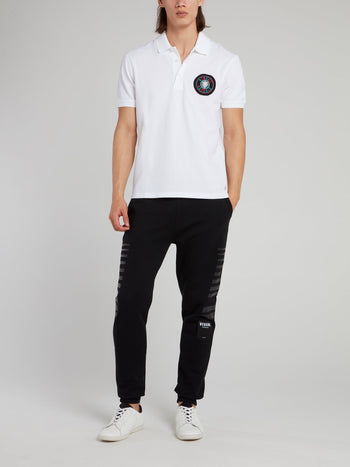 White Appliquéd Polo Shirt
