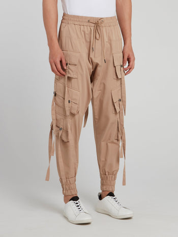 Beige Multi Pocket Drawstring Pants