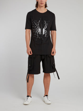 Black Cargo Drawstring Shorts