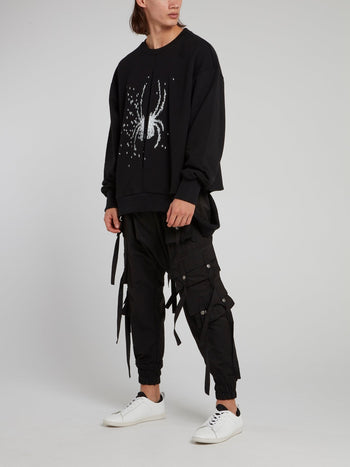 Black Spider Embroidered Knitted Sweatshirt