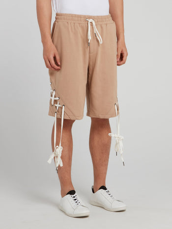 Beige X-String Drawstring Shorts