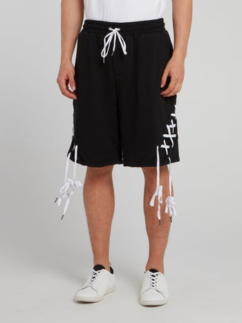 Black X-String Drawstring Shorts