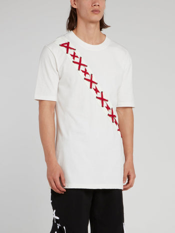 White X-String Panel T-Shirt