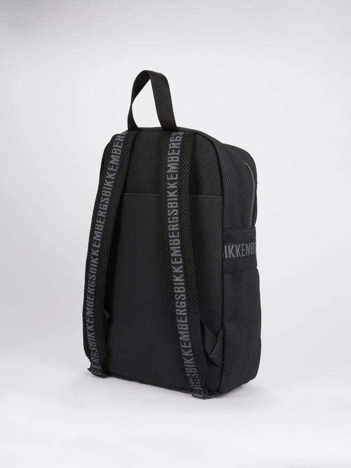 Navy Leather Panel Backpack